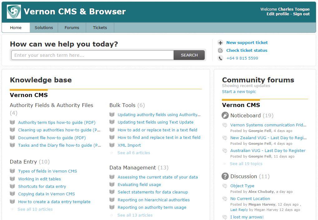 User Support Portal screenshot