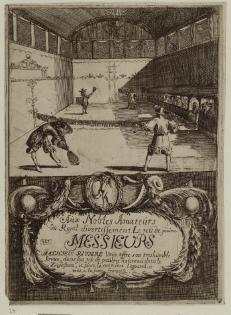 Trade Card of Mathieu Riviere, Proprietor of a Real Tennis Court