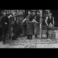 five factory workers circa 1890 posing with their decorative cast iron work