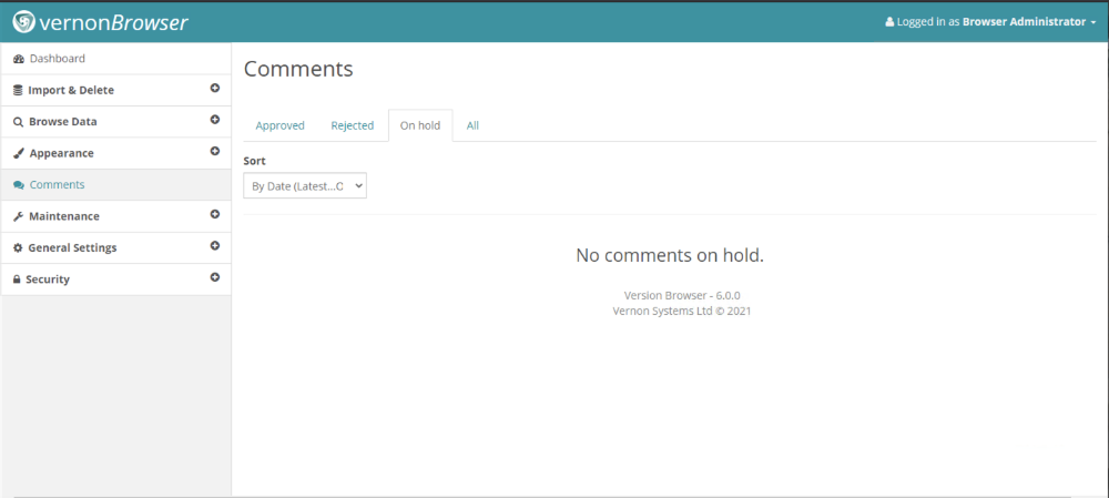 Comments administration screen