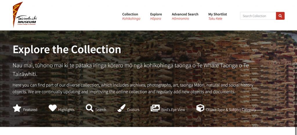 Tairawhiti Museum Online Collection homepage